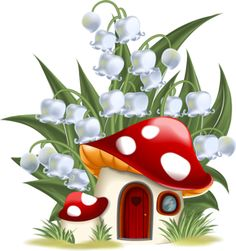 Illustration about Lily of the valley and mushroom house. Illustration of illustration, door, house - 34903329 Mushroom House, Mushroom Art, Garden Clipart, Painted Rocks, Hand Painted, Lily Of The Valley, Fabric Painting, Rock Art, Art For Kids