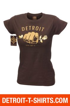 Detroit T-shirts. In Love with Detroit T-Shirt line by Big D L.L.C. - Fist of Detroit with Rose T-Shirt   Detroit T-shirts, $19.95 (http://www.detroit-t-shirts.com/fist-of-detroit-with-rose-t-shirt-detroit-t-shirts/)