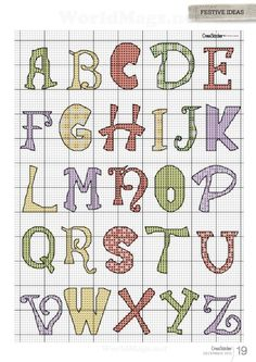 Cross-stitch Colorful Patterned ABCs ... no color chart available, just use pattern chart as your color guide.. or choose your own colors...    Gallery.ru / Фото #12 - Cross Stitcher №273 2013 - samashveya