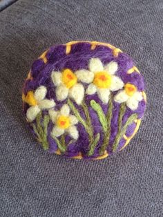 Needle felted brooch, handmade unique gift - spring flowers Daffodils | eBay
