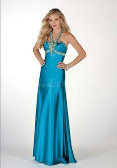 Royal Blue Satin A-line Beaded Halter Empire Prom Dress