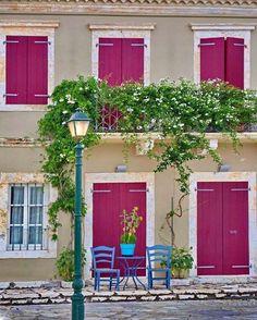 Colors of Fiskardo, Kefalonia island, Ionian sea Greek Flowers, Forest Mountain, Tree Forest, Flowering Trees, Greece Travel, Congratulations, Modern, Plants, Visit Greece