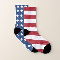 Mismatched Stars and Stripes USA Flag Socks - independence day 4th of july holiday usa patriot fourth of july