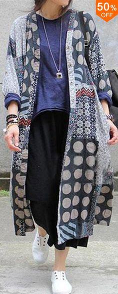cacf3232020c2 Women Vintage Polka Dot Print Button Long Sleeve Long Shirts Kimono