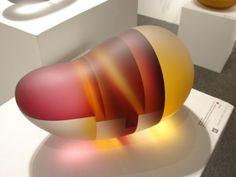 Jiyong Lee - Orange & Magenta Embro Segmentation /// hotformed cut color laminated glass