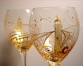 Gold Lighthouse Goblet Wine Glasses Hand Painted Glassware