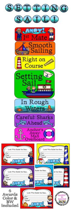 You are going to have fun with this adorable Setting Sail Ocean theme clip chart set. This behavior system promotes positive behavior in the classroom.  During the course of the day, the clips move up and down the chart based upon the behavioral choices each student makes. Good behavior causes the clip to move up one level while inappropriate behavior will cause the clip to move down one level.