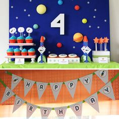 Outer Space Solar System Birthday Party - PRINTABLE ONLY - Banner, Toppers, Tags, Invitation and more. $25.00, via Etsy.