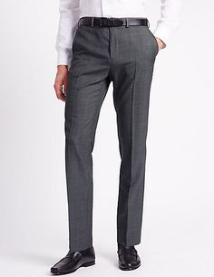 Flat Front Trousers with Wool | M&S