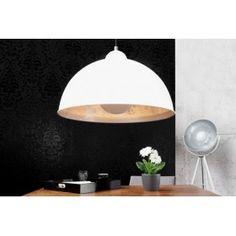 ARCTIC - industrial design lampshade matt white silver lining pendant light