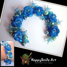 Valentines Day Gift Handmade Blue flowers polymer by HappySmileArt