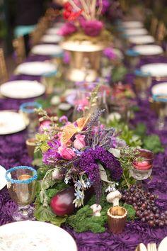 purple floral arrangements Midsummer Nights dream Bridal Shower www.poshshoppeflorist.com Posh Shoppe Florist purple gold garden shower
