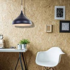 Scandinavische hanglamp zwart met hout Ø 33cm