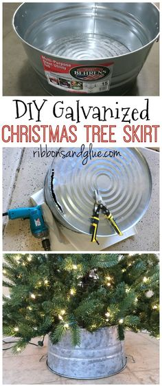 DIY Galvanized Bucket Christmas Tree Skirt made out of a steel bucket.  Easy and inexpensive DIY Christmas tree skirt perfect for that rustic Christmas look.