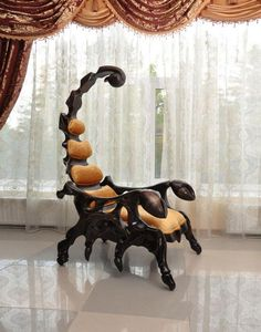 The fearsome Scorpion Chair is a handcrafted wooden chair that is shaped like a scorpion. The chair measures in at six and a half feet and is available with leather upholstery and a variety of wood. Awsome design different and looks solid. Funky Furniture, Unique Furniture, Furniture Design, Chair Design, Distressed Furniture, Farmhouse Furniture, Furniture Stores, Cheap Furniture, Pallet Furniture
