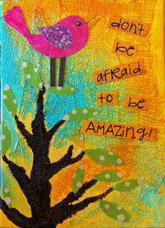mixed media tree and bird with quote