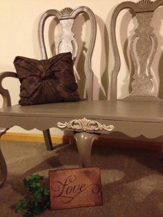 Repurposed BenchThE DueT by ThELocKe on Etsy, $160.00 Bench Decor, Chair Bench, Entry Bench, Entryway Tables, Wedding Bench, Vintage Bench, Cottage Chic, Repurposed, Recycling