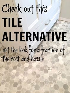 inexpensive flooring Get the look of hexagon tile without the cost, time or hassle. Skip the installation, grouting, cleaning . and try this DIY-friendly, inexpensive flooring option! Vinyl Sheet Flooring, Linoleum Flooring, Diy Flooring, Kitchen Flooring, Flooring Ideas, Vinyl Flooring Bathroom, Basement Bathroom, Floors, Bathroom Ideas