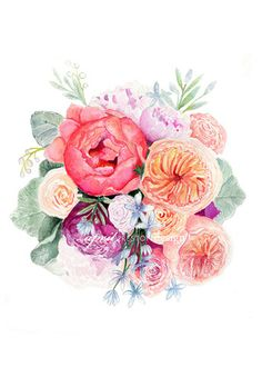 Pink and Coral Peonies Bridal Bouquet - Watercolor Print - NEW