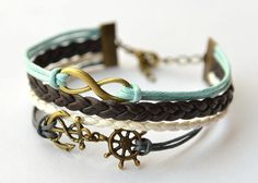 Brass Infinity & Anchor/Rudder Charm Bracelet Brown by MissKids, $7.99