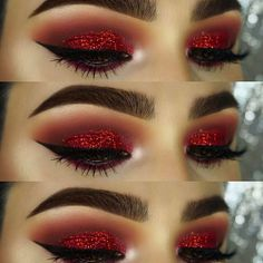 How To remove waterproof eyeliner? Make up eyes - If eyeliner and mascara are waterproof, this places special demands on your eye make-up remover. Eye Makeup Glitter, Red Eye Makeup, Skin Makeup, Beauty Makeup, Red Makeup Looks, Matte Makeup, Glitter Gel, Black And Red Makeup, Makeup Style