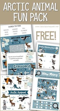 This Arctic Animal Fun Pack features several free printable activities for kids. Crossword, word search, shadow matching and more. Polar bears, penguins, reindeer and more included! Animal Activities For Kids, Winter Activities For Kids, Printable Activities For Kids, Kindergarten Activities, Printable Puzzles, Classroom Activities, Toddler Activities, Free Printables, Arctic Habitat