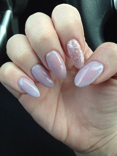 Pale Lavender almond gel nails with glitter accent nail