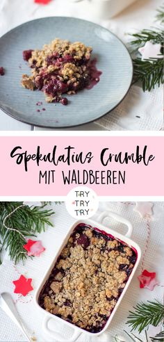 Christmas Speculoos Crumble with Berry . - Christmas speculoos crumble with berries - Easy Snacks, Easy Healthy Recipes, Sweet Recipes, Healthy Snacks, Snack Recipes, Easy Meals, Berry Crumble, Yummy Cakes, Healthy Smoothie Recipes