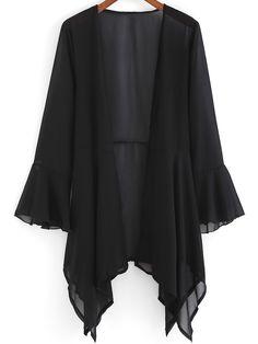 Sheinside Black Bell Sleeve Loose Chiffon Coat Found on my new favorite app Dote Shopping Cardigans For Women, Blouses For Women, Hijab Fashion, Fashion Dresses, Mode Kimono, Iranian Women Fashion, Types Of Fashion Styles, Bell Sleeves, Chiffon