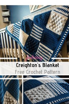 Crochet Afghans Patterns Ridiculously Cozy Crochet Blanket Pattern To Keep You Warm This Winter - This ridiculously cozy crochet blanket pattern is made by mixing and matching beautiful squares made using some really cool stitches. Crochet Afghans, Crochet Blanket Border, Patchwork Blanket, Crochet Diy, Crochet Square Patterns, Easy Crochet Projects, Crochet Blanket Patterns, Crochet Crafts, Knitting Patterns