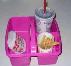 Not a fan of fast food but good idea to pass around meals or snacks, kids can pass them backup with trash:)