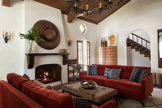 Living room with sculptural fireplace in a Spanish Colonial Revival residence by. Living room with Spanish Style Interiors, Spanish Style Decor, Spanish Style Bathrooms, Spanish Interior, Spanish Style Homes, Spanish Style Kitchens, Modern Spanish Decor, Spanish House, Living Room Interior