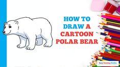 Polar Bear Drawing, Polar Bear Cartoon, Cartoon Art, Easy Animals, Draw Animals, Easy Arts And Crafts, Arts And Crafts Projects, Popular Cartoons, Simple Cartoon