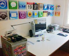 Modern Workspace  :: iMac - iPhone Icons Wall Art... LOVE!!!