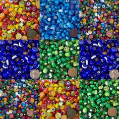 Millefiori Translucent Gems are the rounded gems used to make millefiori beads, but they do not have beading holes and are used for mosaic art. Mosaic Rocks, Glass Mosaic Tiles, Mosaic Art, Tile Crafts, Mosaic Crafts, Mosaic Flower Pots, Mosaic Supplies, Mosaic Madness, Glass Wall Art