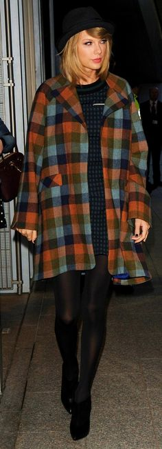 Taylor Swift ; Arriving at Capital FM, London, October 2014 ; Timo Weiland top and skirt, Novis NYC coat & Jimmy Choo booties