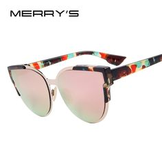 a2dfe81f53fab MERRY S Fashion Women Sunglasses Cat Mirror Glasses Metal Cat Eye  Sunglasses Women Brand Designer Sunglasses S 8392
