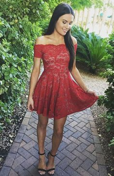 Red Homecoming Dress,lace Homecoming Dresses,short Homecoming Dress,off Shoulder Homecoming Dress on Luulla Lace Homecoming Dresses, Lace Evening Dresses, Prom Party Dresses, Dance Dresses, Sexy Dresses, Cute Dresses, Dress Prom, Party Gowns, Red Hoco Dress