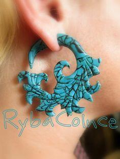 Oreille faux jauge / Faux gauge/jauge de boucles d'oreilles / faux piercing la turquoise