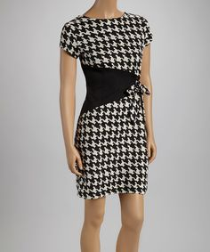 Take a look at this Shelby & Palmer Black & Cream Houndstooth Triangle Short-Sleeve Dress on zulily today!