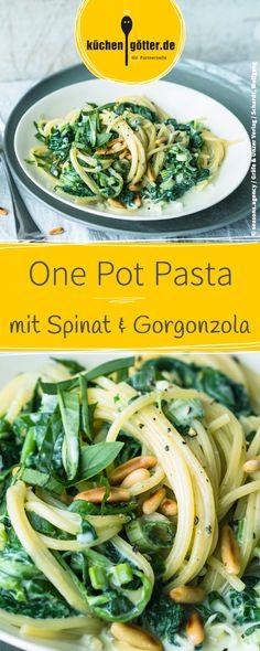 Rezepte Pasta Nudeln. Alles aus einem Topf: One Pot-Rezept für Spaghetti con spinaci e gorgonzola.