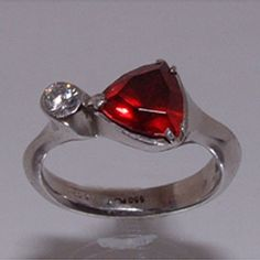 Ring in Platinum set with Diamond and Garnet - Patania - Jewelry ...