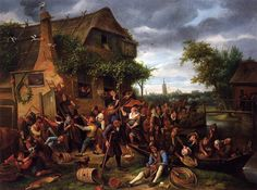 A Village Revel - Jan Steen. 1673. Oil on canvas. The Royal Collection, Buckingham Palace, London, UK.