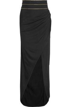 Balmain  Ruched stretch-knit maxi skirt
