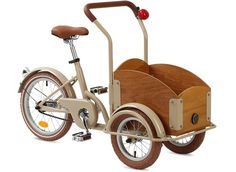 The Kids Cargo Bike from Republic Bike features a sleek, inverted tricycle design and a wooden crate, reminiscent of the classic cycles seen on the streets of Europe. Velo Cargo, Kids Bicycle, Bicycle Cart, Holiday Gift Guide, Holiday Gifts, Mobiles, Kids Playing, Kids Toys, Creations