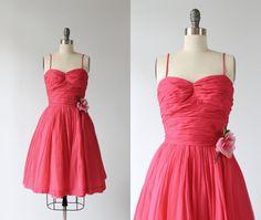 Pink Chiffon Dress / Vintage 1960s Dress / by TheVintageMistress, $98.00