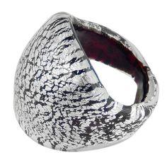 FASCETTA • Murano Glass BAND RING • BLACK silver-leaf