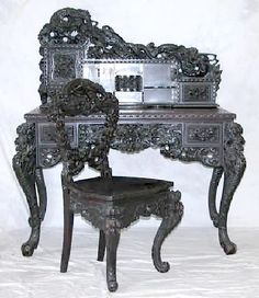 chinese carved furniture   Furniture: Suite-Office   Chinese Teak Carved Dragon Motifs
