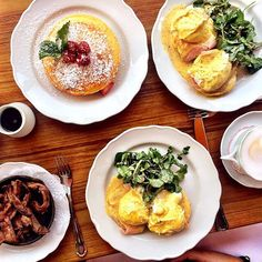 """""""A perfect brunch spread. #eggsbenedict #pancakes #bacon #brunch (Photo: @jenellehamiltonpr)"""""""