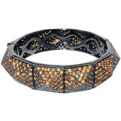 "Plukka """"Pyramid"""" Orange Sapphire Spike Bangle Bracelet ($1,475) ❤ liked on Polyvore featuring jewelry, bracelets, orange sapphire jewelry, punk rock jewelry, hinged cuff bracelet, spike bangle and cuff jewelry"